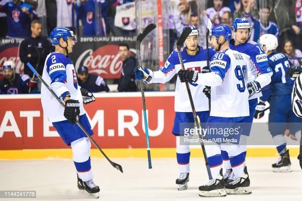 Richard Panik of Slovakia celebrates scoring a goal during the 2019 IIHF Ice Hockey World Championship Slovakia group A game between France and...
