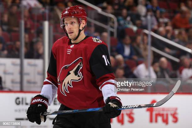 Richard Panik of the Arizona Coyotes awaits a face off during the NHL game against the San Jose Sharks at Gila River Arena on January 16 2018 in...