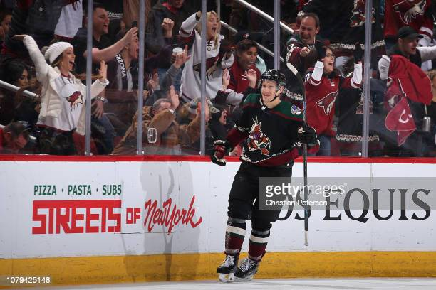 Richard Panik of the Arizona Coyotes reacts after scoring a goal against the San Jose Sharks during the third period of the NHL game at Gila River...