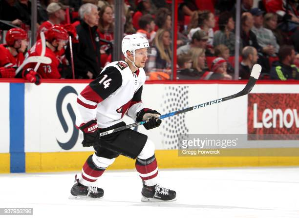 Richard Panik of the Arizona Coyotes skates for position on the ice during an NHL game against the Carolina Hurricanes on March 22 2018 at PNC Arena...