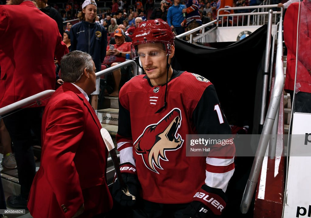 Richard Panik #14 of the Arizona Coyotes takes the ice prior to a game against the Edmonton Oilers at Gila River Arena on January 12, 2018 in Glendale, Arizona.