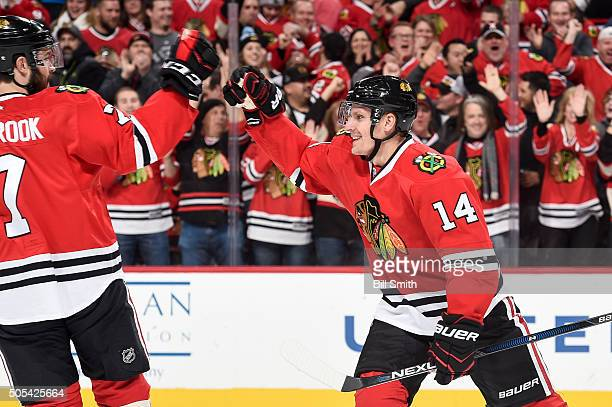 Richard Panik of the Chicago Blackhawks celebrates after scoring against the Montreal Canadiens in the first period of the NHL game at the United...