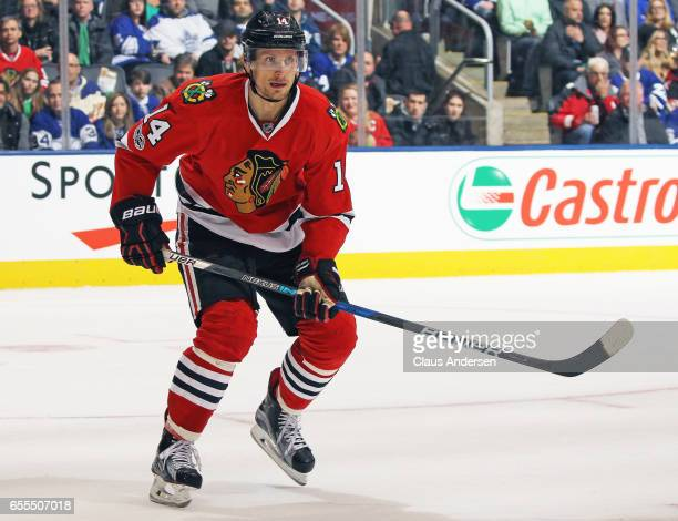 Richard Panik of the Chicago Blackhawks skates against the Toronto Maple Leafs during an NHL game at the Air Canada Centre on March 18 2017 in...