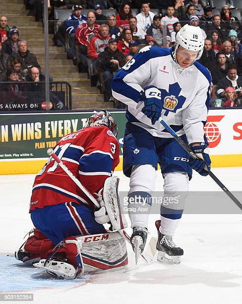 Richard Panik of the Toronto Marlies looks for a rebound off of Zachary Fucale of the St Johns IceCaps during AHL game action on December 26 2015 at...