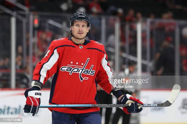 Richard Panik of the Washington Capitals looks on against the St Louis Blues during a preseason NHL game at Capital One Arena on September 18 2019 in...