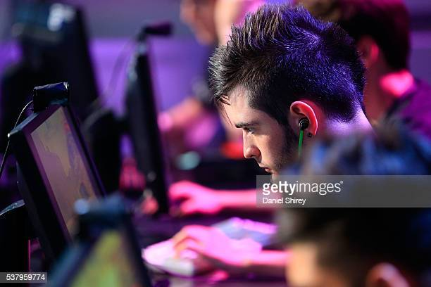 Richard Papillon gamertag 'shox' of G2 Esports warms up prior to the match against Ninjas in Pyjamas at the ELeague Arena at Turner Studios on June 3...