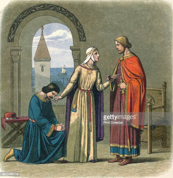 Richard pardons his brother John' 1864 Richard I pardons his brother Prince John at the behest of their mother Eleanor of Aquitaine From A Chronicle...
