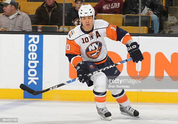 Richard Park of the New York Islanders skates during warmups against the Boston Bruins at the TD Banknorth Garden on March 14 2009 in Boston...