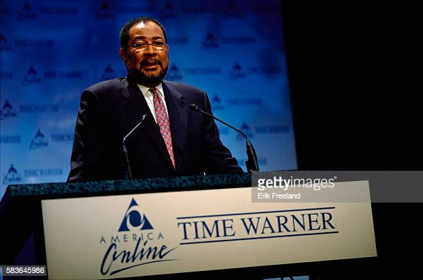 Richard Parsons President of Time Warner speaks at a press conference in New York City to announce the merger of America Online and Time Warner