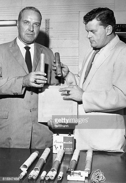 Richard Pavlick Threaten to Blow Up Himself Pres Elect John F Kennedy Detectives Examine Sticks Of Dynamite Blasting Caps wiring Taken From His Car...