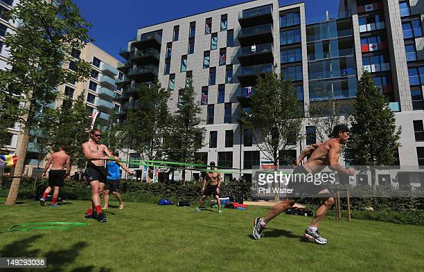 Richard Petherick of the New Zealand mens hockey team exercises inside the Athletes Village ahead of the London 2012 Olympic Games on July 26, 2012...