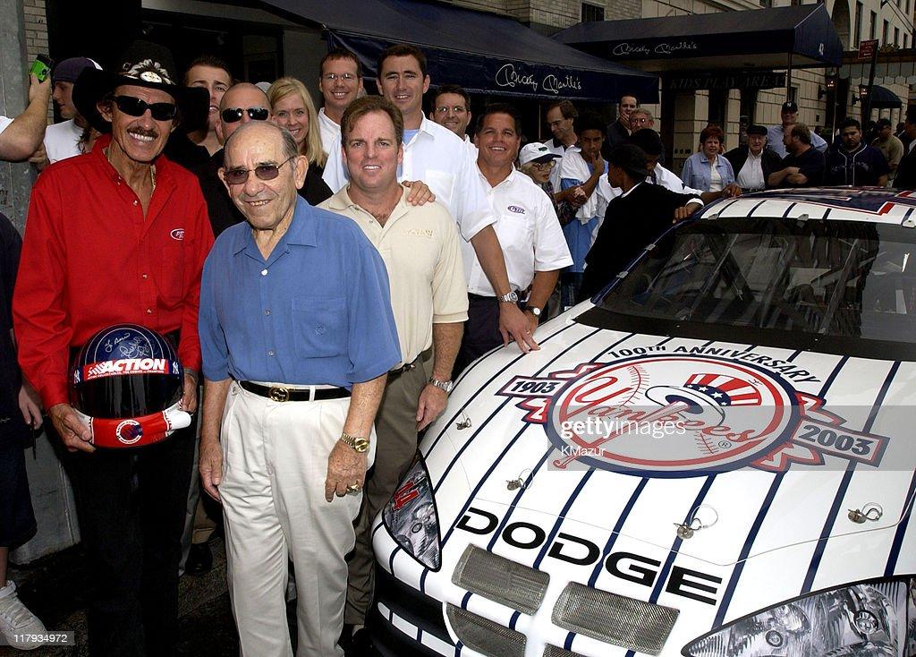 Richard Petty and Yogi Berra Unveil New York Yankee 100th Anniversary Cars