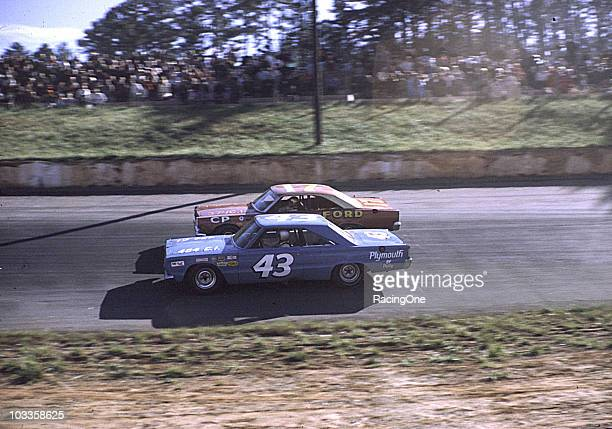 Richard Petty passes David Pearson during the Western North Carolina 500 at AshevilleWeaverville Speedway Petty finished second and Pearson third...