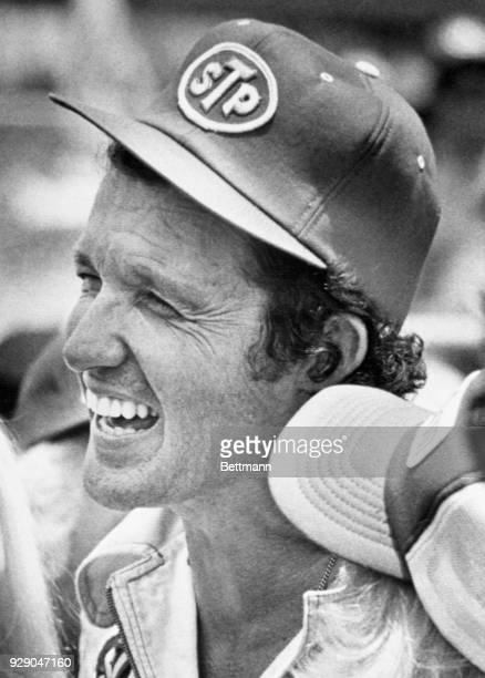 Richard Petty smiles in the Victory Circle after he won the Firecracker 400 at the Daytona International Speedway