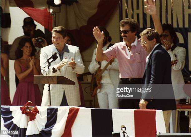 Richard Petty who celebrates his birthday every year during the July NASCAR Cup Series race at Daytona is accompanied by US President Ronald Reagan...