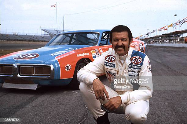 Richard Petty with his STP Dodge Charger NASCAR Cup machine at Daytona International Speedway Petty went on to win the Daytona 500 and finished...