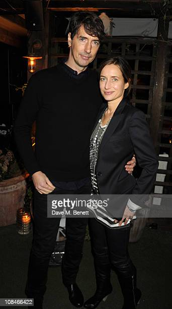 Richard Phillips and Josephine Meckseper attend the afterparty to celebrate Richard Phillips 'Most Wanted' exhibition at Shoreditch House on January...