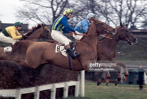 Richard Pitman riding Frozen Slave in action during the Flyers Open Novice at Sandown Park Racecourse in Esher Surrey on 12th March 1971