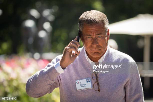 Richard Plepler chief executive officer of HBO uses his phone during the annual Allen Company Sun Valley Conference July 12 2018 in Sun Valley Idaho...