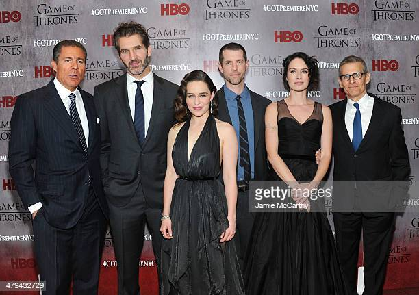 Richard Plepler David Benioff Emilia Clarke DB Weiss Lena Headey and Michael Lombardo attend the Game Of Thrones Season 4 New York premiere at Avery...