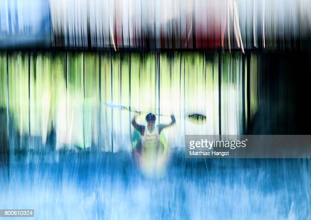 Richard Powell of The United States jumps of the startramp during the Boater Cross Time Trials of the ICF Canoe Slalom World Cup on June 24 2017 in...