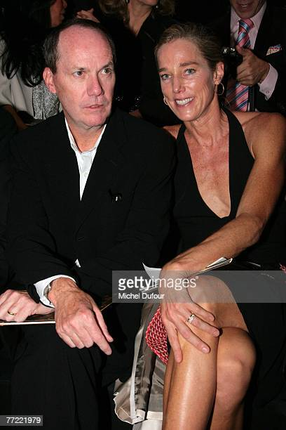 Richard Prince and his wife attends the Louis Vuitton fashion show, during the Spring/Summer 2008 ready-to-wear collection show at Cour carree du...