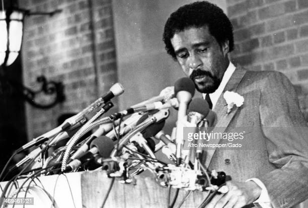 Richard Pryor comedian and actor speaking at the Department of Agriculture Press Conference Washington DC 1970