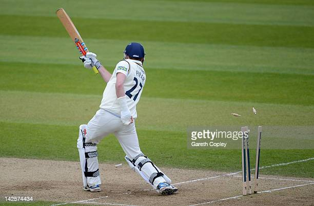 Richard Pyrah of Yorkshire is bowled by Charlie Shreck of Kent during day four of the LV County Championship division two match between Yorkshire and...