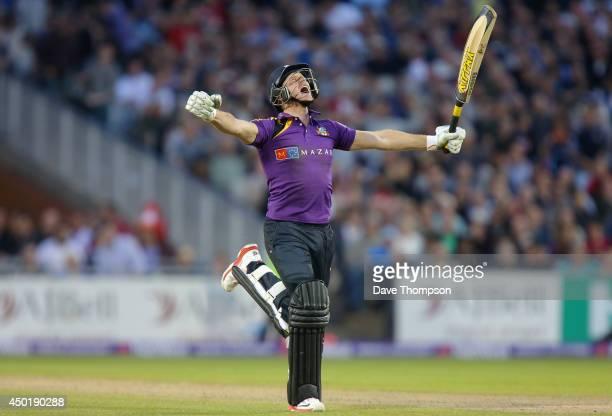 Richard Pyrah of Yorkshire Vikings celebrates hitting the winning runs at Old Trafford on June 6, 2014 in Manchester, England.