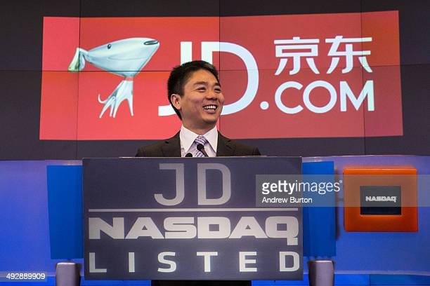 Richard Qiangdong Liu, founder, chairman and CEO of JD.com speaks to employees as JD.com has its initial public offering on the Nasdaq exchange on...