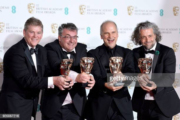 Richard R Hoover Gerd Nefzer John Nelson and Paul Lambert winners of the Special Visual Effects award for the movie Blade Runner 2049 pose in the...