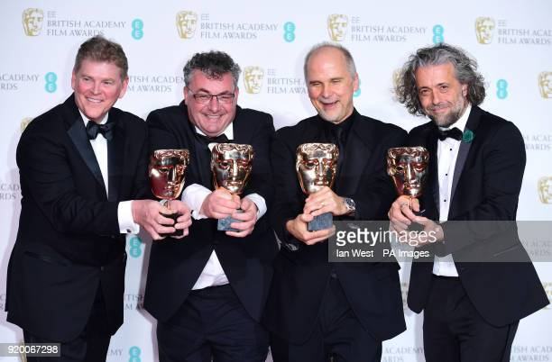 Richard R Hoover Gerd Nefzer John Nelson and Paul Lambert with the BAFTA for Special Visual Effects in the press room at the EE British Academy Film...