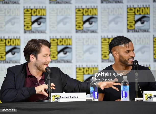Richard Rankin and Ricky Whittle speak onstage at ComicCon International 2017 Brave New Warriors panel at San Diego Convention Center on July 21 2017...
