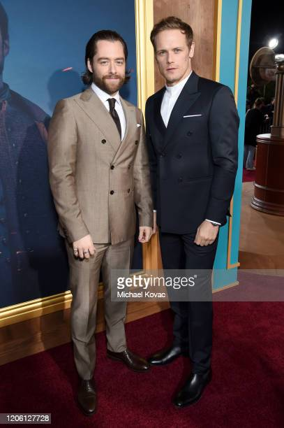 """Richard Rankin and Sam Heughan attend the Starz Premiere event for """"Outlander"""" Season 5 at Hollywood Palladium on February 13, 2020 in Los Angeles,..."""