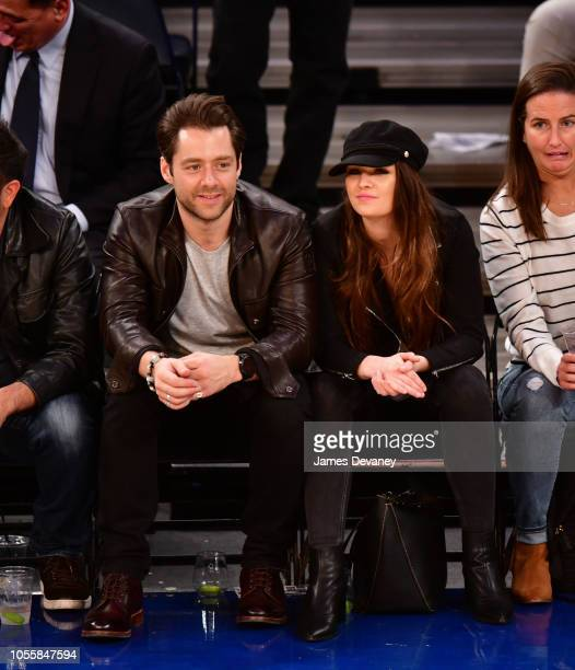 Richard Rankin and Sophie Skelton attend the Indiana Pacers vs New York Knicks game at Madison Square Garden on October 31, 2018 in New York City.