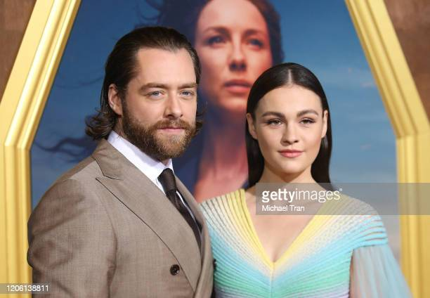 """Richard Rankin and Sophie Skelton attend the Los Angeles Premiere of Starz's """"Outlander"""" Season 5 held at Hollywood Palladium on February 13, 2020 in..."""