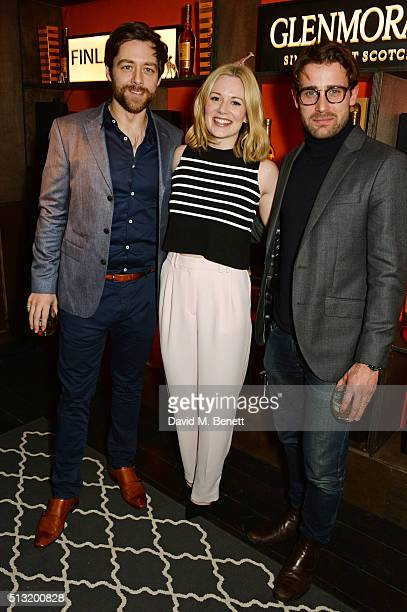 Richard Rankin Cara Theobold and Christian Cooke attends the launch of Glenmorangie and Finlay Co collaboration 'Beyond the Cask' on March 1 2016 in...