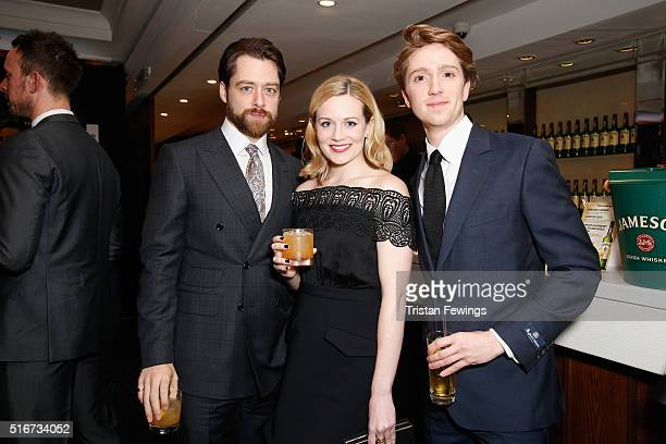 Richard Rankin Cara Theobold and Luke Newberry attends the Jameson Empire Awards 2016 at The Grosvenor House Hotel on March 20 2016 in London England