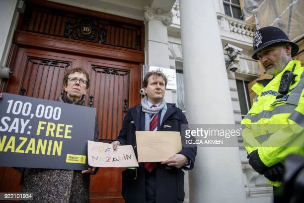 Richard Ratcliffe, , husband of jailed British-Iranian woman Nazanin Zaghari-Ratcliffe, delivers a petition and a letter addressed to the Iranian...