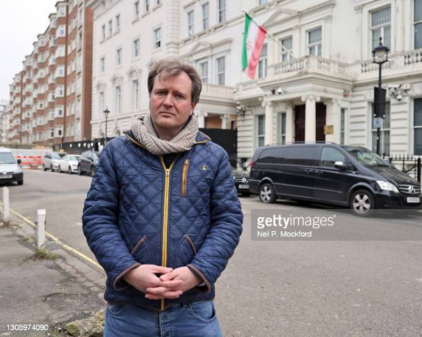 Richard Ratcliffe, husband of Nazanin Zaghari-Ratcliffe, is seen outside the Iranian Embassy on March 08, 2021 in London, England. . Nazanin...