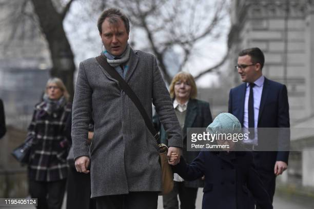 Richard Ratcliffe, husband of the jailed British-Iranian woman Nazanin Zaghari-Ratcliffe currently being held in Iran, arrives with daughter...