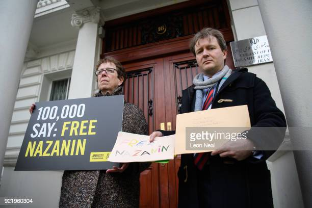 Richard Ratcliffe poses for the media before attempting to deliver a collection of letters and posters calling for the release of his wife, jailed...
