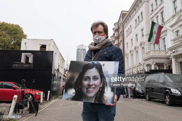 Richard Ratcliffe protests outside the Embassy of Iran in London calling for an immediate release of his wife Nazanin Zaghari-Ratcliffe, on 08 March,...