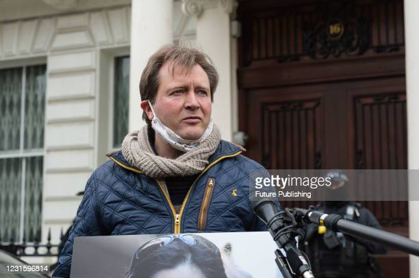 Richard Ratcliffe speaks to the media during a protest outside the Embassy of Iran in London calling for an immediate release of his wife Nazanin...