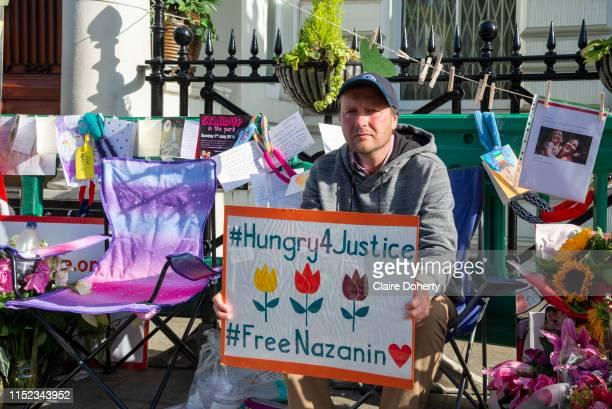 Richard Ratcliffe, the husband of detained Nazanin Zaghari Ratcliffe, on day 13 of his hunger strike outside the Iranian Embassy in Knightsbridge,...