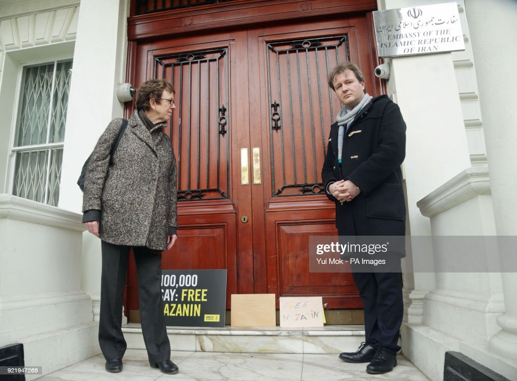 Richard Ratcliffe (right), the husband of jailed British mother Nazanin Zaghari-Ratcliffe, and Kate Allen from Amnesty International, leave a letter outside the Iranian Embassy in London concerning the continued detention of his wife in Iran.