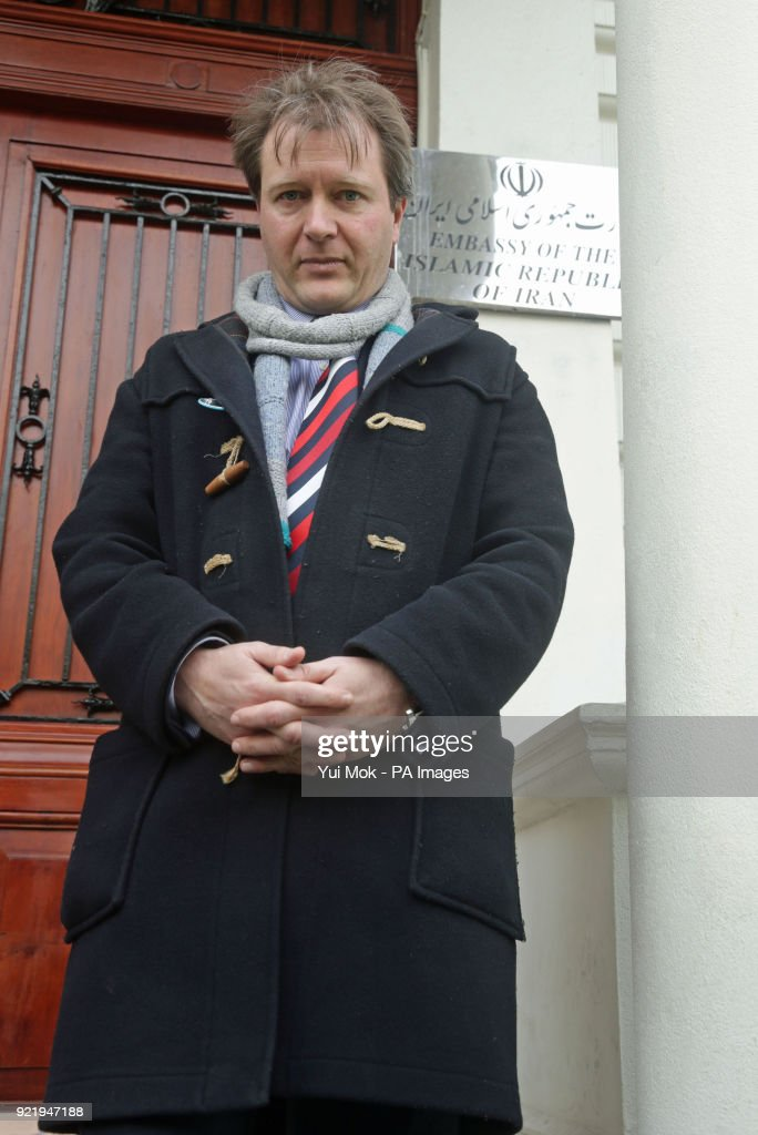 Richard Ratcliffe, the husband of jailed British mother Nazanin Zaghari-Ratcliffe, outside the Iranian Embassy in London after leaving a letter concerning the continued detention of his wife in Iran.
