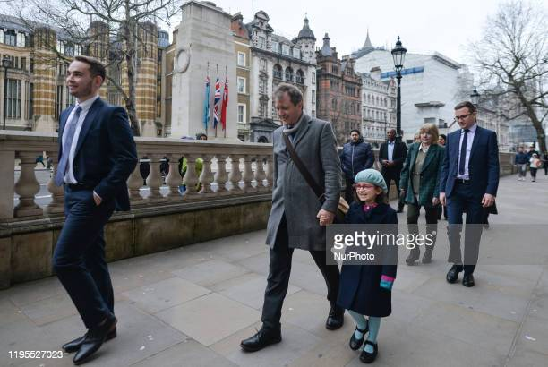 Richard Ratcliffe, the husband of the jailed British-Iranian woman Nazanin Zaghari-Ratcliffe, and his daughter Gabriella arrive at Downing Street in...
