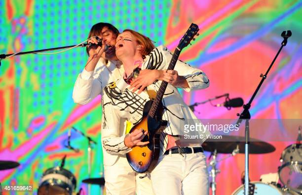 Richard Reed Parry and William Butler of Arcade Fire perform on stage at British Summer Time Festival at Hyde Park on July 3 2014 in London United...
