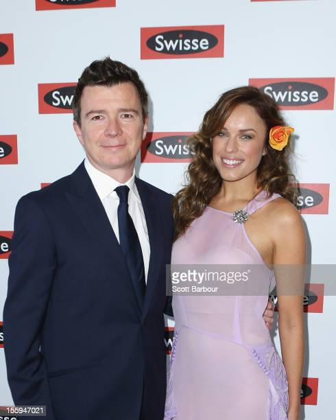 Richard 'Rick' Astley and Jess McNamee attend the Swisse marquee on Stakes Day at Flemington Racecourse on November 10 2012 in Melbourne Australia